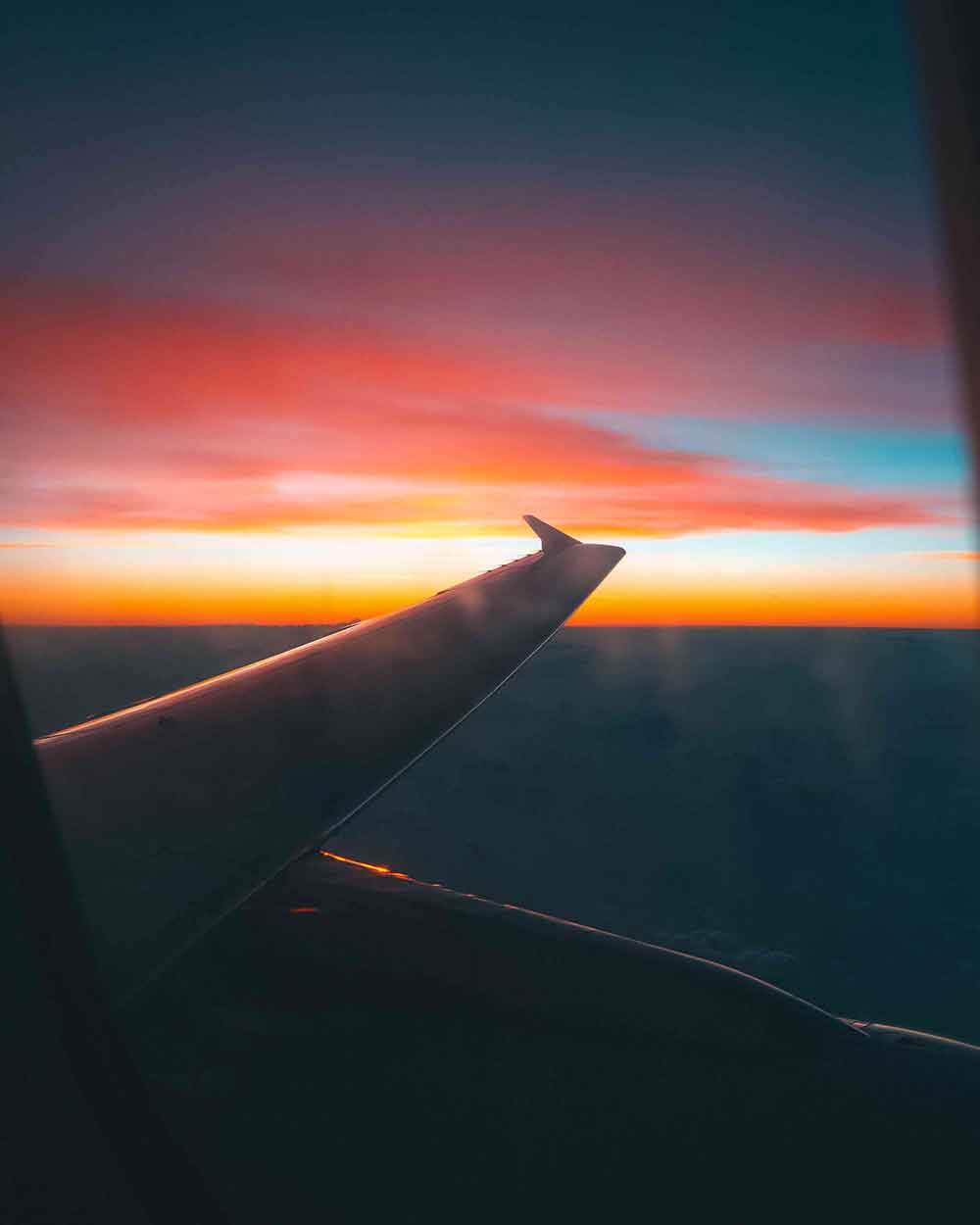 Airplane sunset view
